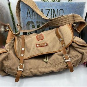 Aigle Messenger Khaki Brown Leather Bag
